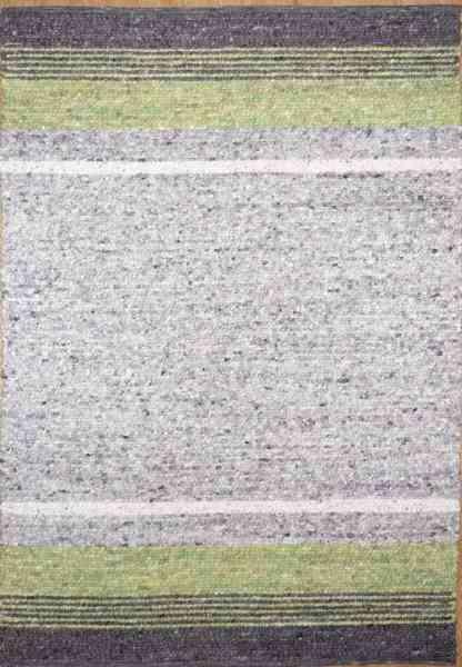 Handwebteppich Black Forest Stripes, gewalkte Schurwolle, mehrfarbig grün, Draufsicht