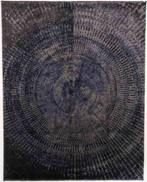Flachgewebe Teppich Avant Garde, Schurwolle und Viskose, modernes Teppich-Design, blau, Draufsicht