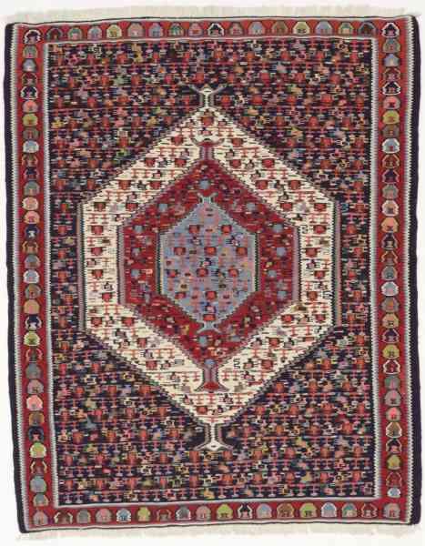 Kelim Senneh, handgewebt im Iran, Schurwolle, 113 x 140 cm, mehrfarbig, Draufsicht