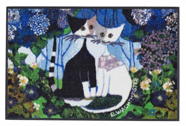 Rosina Wachtmeister Fußmatte Wedding, typisches Katzenmotiv in Blautönen, 50 x 75 cm, Draufsicht
