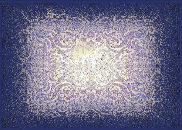 Hochwertiger persischer Designerteppich aus feinster Wolle und Seide handgeknüpft blau/lila/weiß Draufsicht