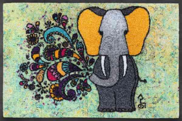 Fußmatte Happy Fant, wash & dry Rollin' Art, bunte gute Laune-Matte, 40 x 60 cm, Draufsicht