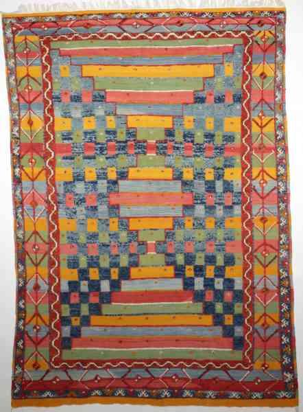 Original 60er Jahre Kelim, mehrfarbig, bunt aus Schurwolle, Draufsicht