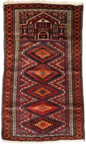 Afghan Beloutsch, von Hand geknüpft, reine Schurwolle, rot/mehrfarbig, Draufsicht