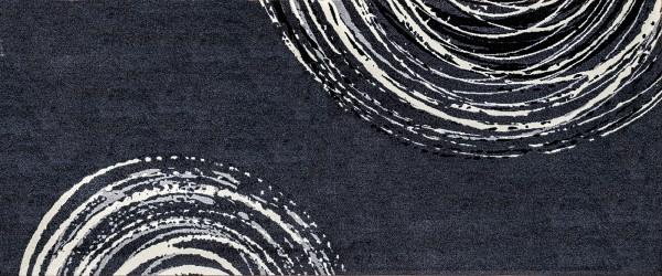 Decor Fußmatte Swirl, Läufer 080 x 200 cm, schwarz/weiß, Draufsicht