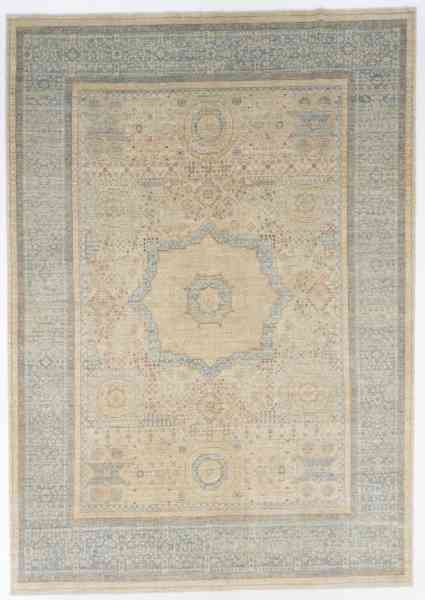 Feiner handgeknüpfter Mamlouk-Orientteppich mit Mittelmedallion aus reiner Schurwolle in beige/blau/mehrfarbig, Draufsicht ig,