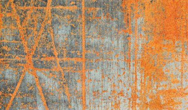 Sauberlaufmatte Rustic, abstraktes Design, orange/grau, 070 x 120 cm Draufsicht