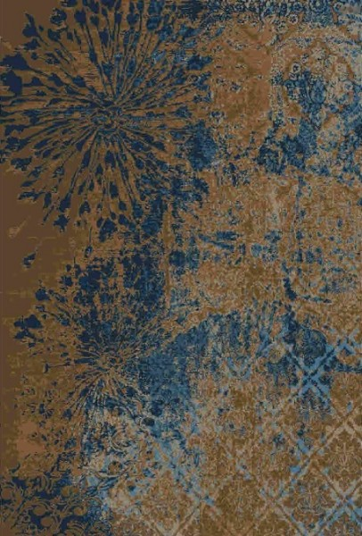 Handgeknüpfter Designerteppich aus Persien, hergestellt aus Schurwolle und Seide, braungründig mit blauen Blütenmotiven, Draufsicht