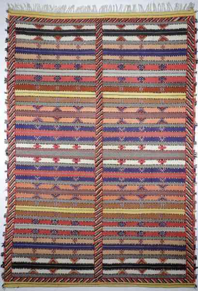 Original Berber Nomaden Kelim, teilweise gewebt - teils handgeknüpft,mehrfarbig, Draufsicht
