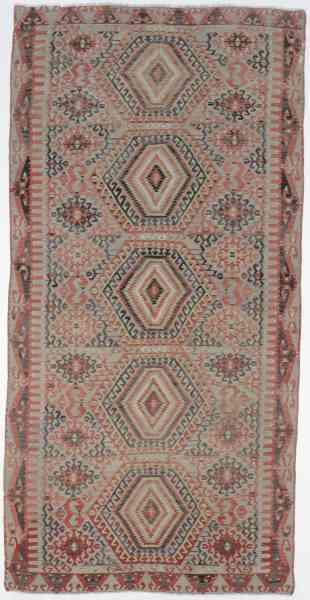 Handgewebter türkischer Kelim aus reiner Schurwolle, über 60 Jahre alt, rosa/grau/mehrfarbig, Draufsicht