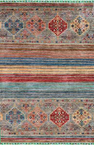 Afghan-Teppich Smaragd 123 x 180 cm, handgeknüpft aus Schurwolle, mehrfarbig, Draufsicht