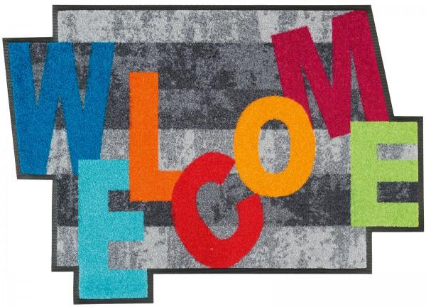Sauberlaufmatte Crazy Welcome, Sonderform, 60 x 85 cm, Draufsicht