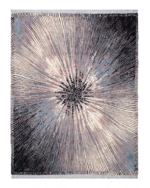 Stardust persischer Designerteppich, Wolle & Seide, mehrfarbig, 230x 295 cm, Draufsicht