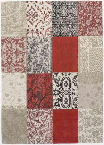 Vintage Patchwork, gewebt aus Baumwoll-Chenille, mehrfarbig, Draufsicht