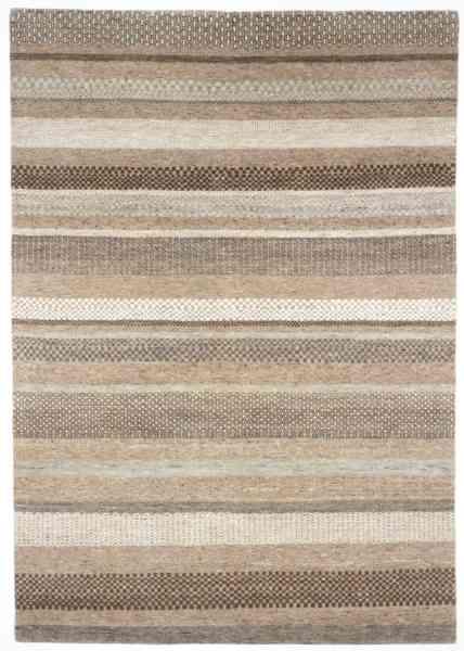 Natur-Pur Teppich mit Streifendesign, handgeknüpft aus Schurwolle in beige/braunen Farben, Draufsicht