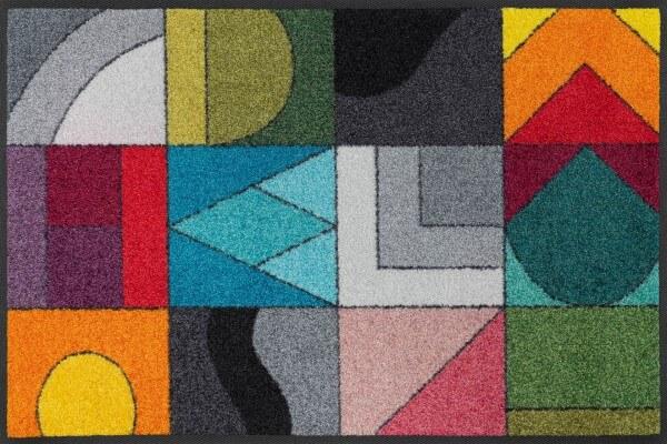 Sauberlaufmatte Momix, Wash & Dry Design im Bauhausstil, mehrfarbig, 050 x 075 cm, Draufsicht