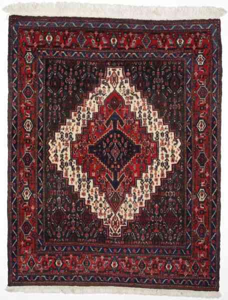 Persischer Senneh, handgeknüpfter Nomadenteppich aus Schurwolle, rot/mehrfarbig, Draufsicht