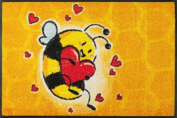 Bee in Love Fußmatte, wash & dry Design, mehrfarbig, 50 x 75 cm, Draufsicht