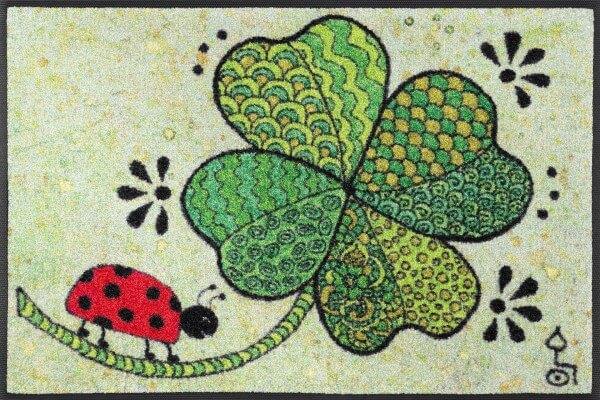 """Fußmatte """"Glück auf allen Wegen"""", Rollin' Art Design, wash & dry Kollektion, 50 x 75 cm, Draufsicht"""