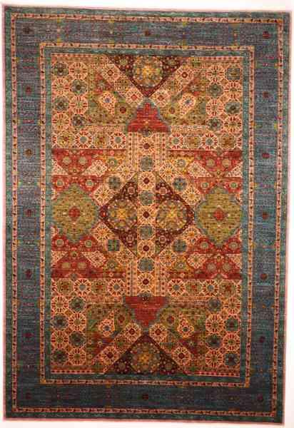 Afghanischer Teppich Mamlouk, handgeknüpft aus Schurwolle, mehrfarbig, Draufsicht