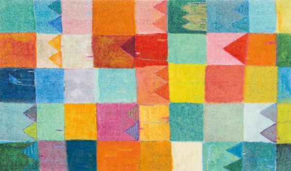 Sauberlaufmatte Sonnenstadt, fröhliches Design, mehrfarbig bunt, 070 x 120 cm, Draufsicht