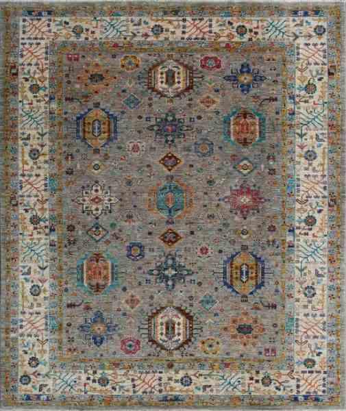 Afghanischer, handgeknüpfter Teppich, modern, graugrundig/mehrfarbig, Ansicht