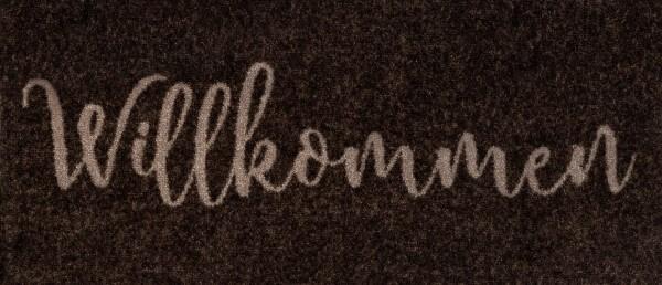 Fußmatte Willkommen graphite, braun mit beigem Schriftzug, 30 x 70 cm, Draufsicht