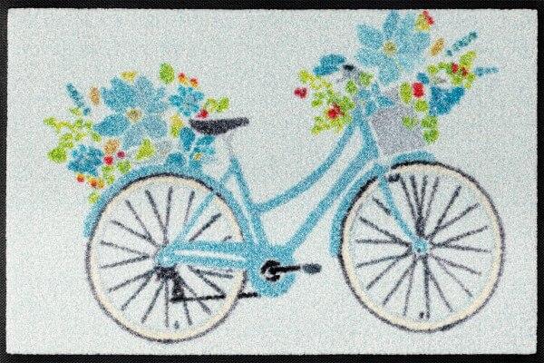 Daisy Daisy Fußmatte, Design Fahrrad mit Blumen, mehrfarbig, 40 x 60 cm, Draufsicht