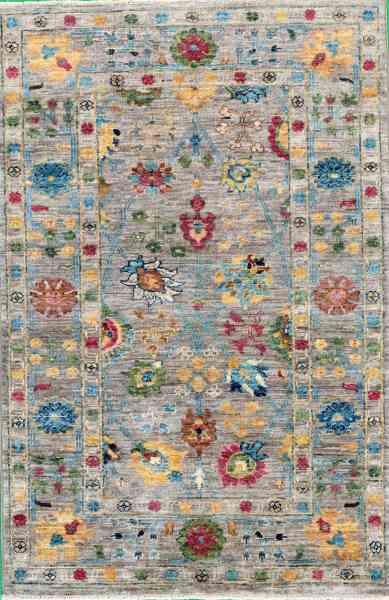 Afghanischer Teppich Rubin Grey, reine Schurwolle, handgeknüpft, graugrundig/mehrfarbig, Draufsicht