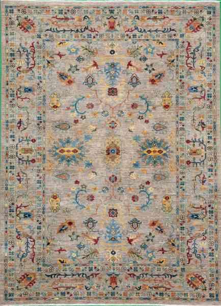 Handgeknüpfter afghanischer Teppich Rubin Apart, reine Schurwolle, mehrfarbig, Draufsicht
