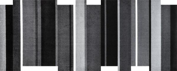 Dancing Steps black, randlose Sauberlaufmatte, Läufer in Sonderform, schwarz/grau/weiß, Draufsicht