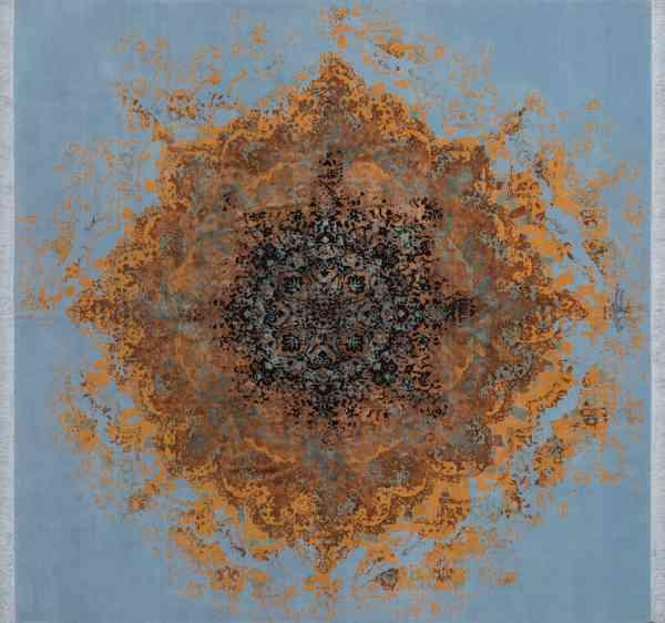 Persischer Designerteppich, handgeknüpft aus Schurwolle und Seide, blaugrundig, Medallion in gold/mehrfarbig, Draufsicht