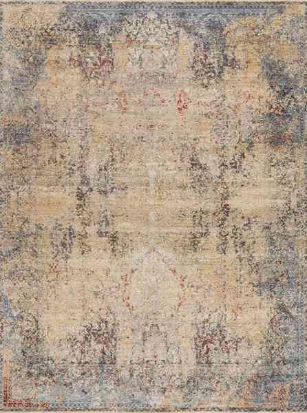 Designerteppich Ancient_5C-2 von TVR, handgeknüpft aus Wolle und Seide, Vintage-Stil, Draufsicht