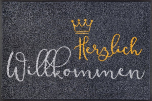 Fußmatte Willkommen Krone, Wash & Dry Designmatte, 050 x 075 cm, Draufsicht