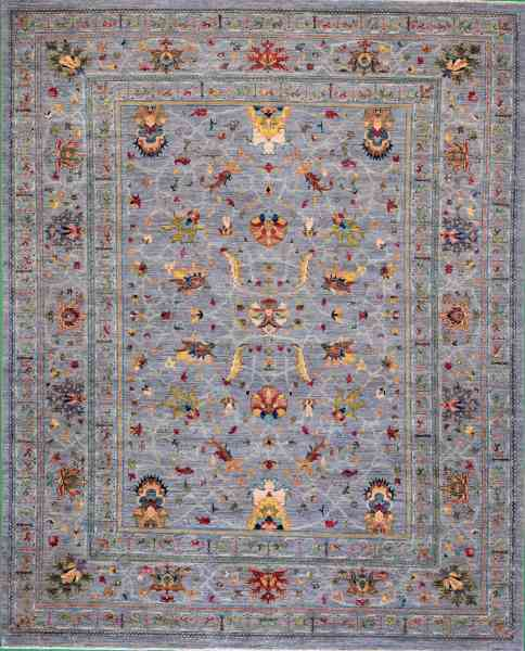 Afghan - Teppich Rubin Large, von Hand geknüpft, Schurwolle, graugrundig/mehrfarbig, Draufsicht