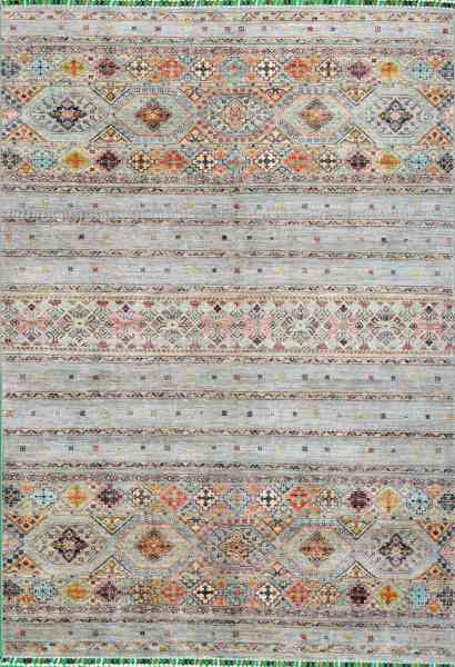 Afghanischer Teppich Smaragd, grey, handgeknüpft, reine Schurwolle, mehrfarbig, Draufsicht