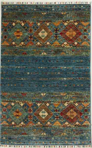 Orientteppich handgeknüpft Rubin blue, aus Afghanistan, 100 % Wolle, Draufsicht