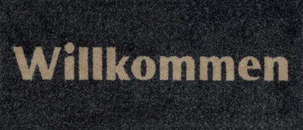 Fußmatte Willkommen graphite, grau mit beigem Schriftzug, 30 x 70 cm, Draufsicht