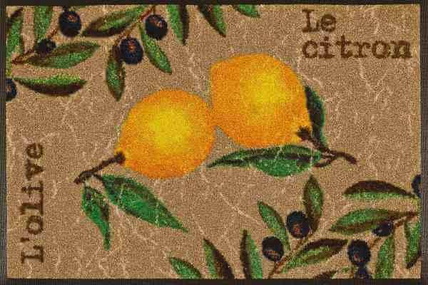 Fußmatte Le Citron, Wash & Dry Küchenmatte, 50 x 75 cm, Draufsicht