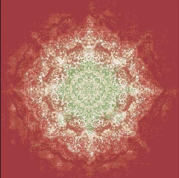 Persischer Designerteppich, handgeknüpft aus Schurwolle und Seide, rotgrundig, Medallion grün/mehrfarbig, Draufsicht