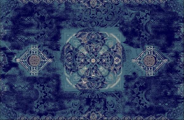 Hochwertiger persischer Designerteppich aus Wolle und Seide handgeknüpft, verschidene Blautöne und weiß mit Mittelmedallion, Draufsichtedallion