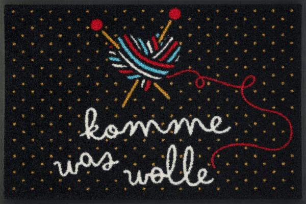 Fußmatte komme was wolle, Wash & Dry Design Enter & Exit, 050 x 075 cm, Draufsicht