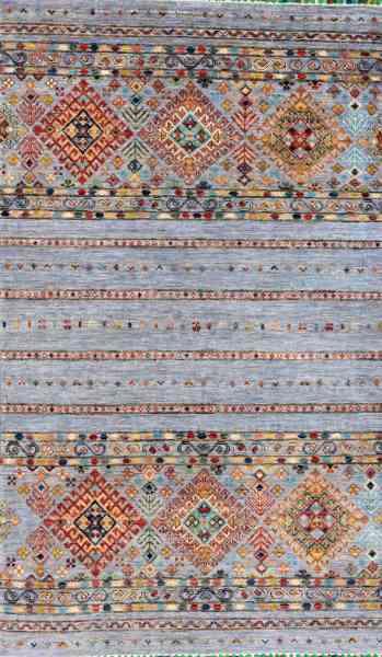 Afghanischer Teppich Smaragd 96 x 160 cm, Schurwolle, handgearbeitet, mehrfarbig, Draufsicht