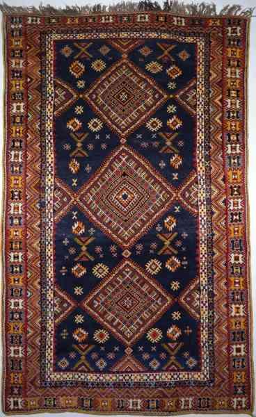 Original marokkanischer Ouzguit Berberteppich aus den 60/70er Jahren, mehrfarbig, Draufsicht