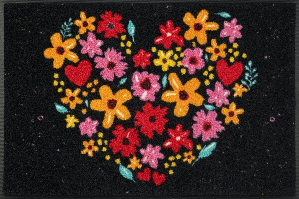 Fußmatte Flower Hearts, Wash & Dry Design Enter & Exit, mehrfarbig, 050 x 075 cm, Draufsicht