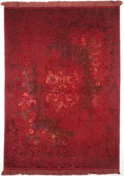 Hochwertiger, moderner Perserteppich aus feinster Schurwolle und Seide, handgeknüpft in rot, Draufsicht