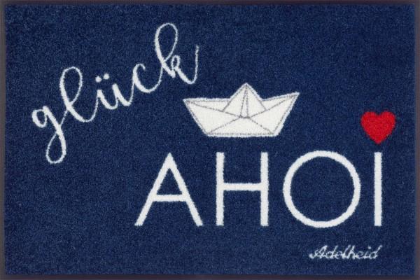 Fußmatte Glück Ahoi Boot, Wash & Dry Design, 050 x 075 cm, Draufsicht