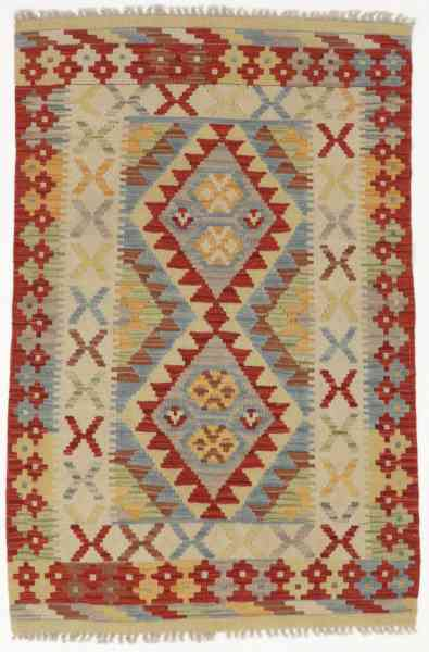Afghan Kelim, handgewebt aus Schurwolle, 82 x 125 cm, mehrfarbig, Draufsicht