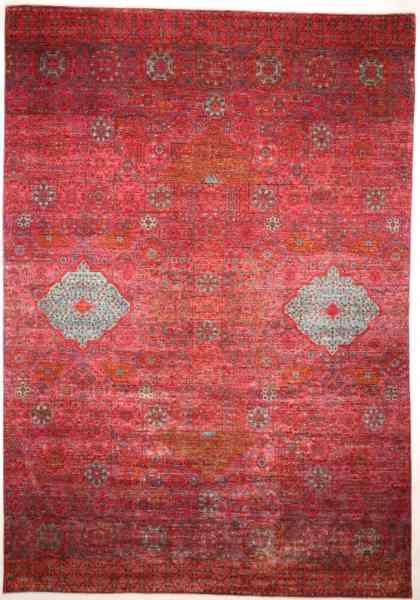 Handgeknüpfter afghanischer Teppich Mamlouk, modern, rot/grau, Draufsicht