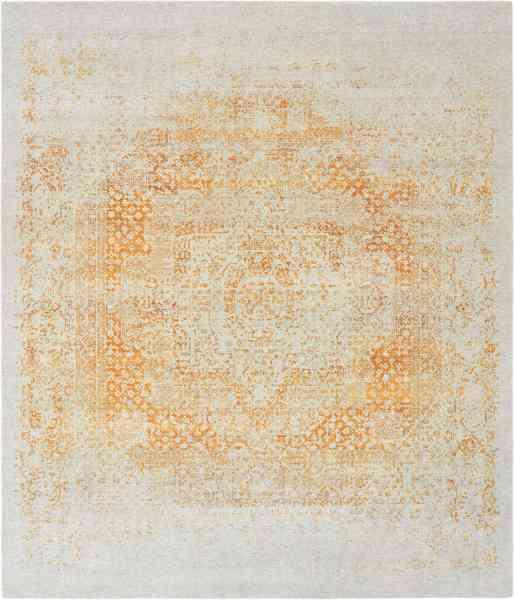 Indischer Teppich, handgeknüpft aus Wolle und Bambusseide im Vintagestil, Draufsicht